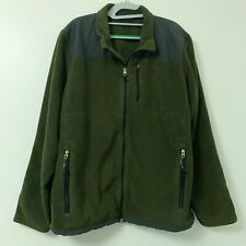 Eddie Bauer Full Zip Fleece Jacket Coat Men's Green Gray Size XL