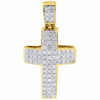 Diamond Mini Domed Cross Pendant 10K Yellow Gold Round Cut Pave Charm 0.65 Ct.