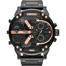 NEW DIESEL MR BIG DADDY DZ7312 57MM BLACK ROSE GOLD STAINLESS STEEL MENS WATCH