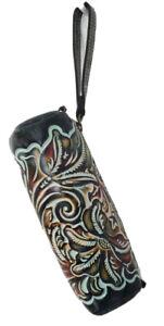 PATRICIA NASH ISLA Oblong Leather Burnished Tooled Turquoise Wristlet Case NWT