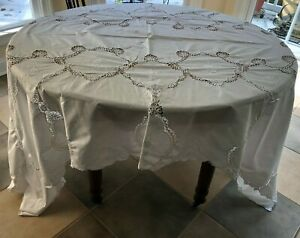 Vintage White on White Embroidered Battenberg Lace  Table Cloth  62 x 98