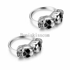 Silver Tone Stainless Steel Men's Skull Huggie Hinged Hoop Stud Earrings Set