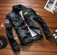 2020 Mens Black Denim Jacket Retro Cotton Long Sleeve Vintage Jackets AU XS-2XL