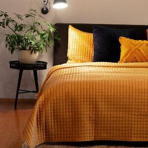 Adela Mustard Velvet Quilted Coverlet Set Queen/King by J Elliot Home