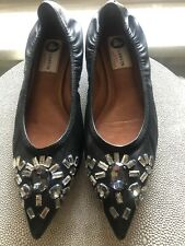 Lanvin Black Leather Pointed Toe Jeweled Ballet Flats Sz 39