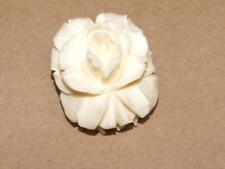 """Vintage Antique Hand Carved Bovine 3-D Rose Flower Pin Brooch 8.2 grams 1.25"""""""