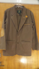 Mens Orvis Zambezi Twill Safari Jacket Brown Coat Leather Elbow Patches Tall Med