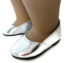 Silver Princess Shoes made for 18 inch American Girl Doll Clothes