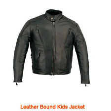 Kids Touring Motorcycle Jacket - Black Leather - 18 - Boys Biker Coat