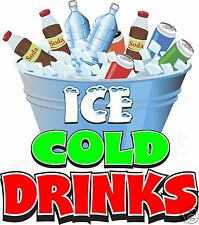 "Ice Cold Drinks 14"" Decal Water Soda Concession Food Truck Cart Vinyl Sticker"