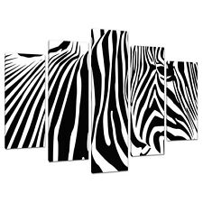 Set of 5 Black White Pictures Canvas Wall Art UK Abstract Zebra 5022