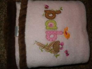 LN 30x40 Carter's BABY Birds Nest Pink Brown Plush Baby crib Blanket Lovey