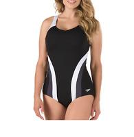 SPEEDO Women's One Piece Flow Active Cross Back Swimsuit Black White 58903 Sz 16