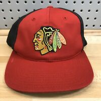 Vintage 90's Chicago Blackhawks NHL Red American Needle Cap ComEd Promo Hat