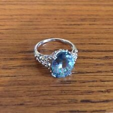 Blue Topaz Gemstone Ring 925 Sterling Silver Size 9.25 NEW
