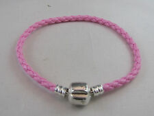 20cm SP  BRIGHT PINK BRAIDED LEATHER CHAINS FOR EUROPEAN STYLE CHARM BRACELETS