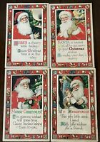 Exceptional~Lot of 4 Santa Claus with Toy Borders~Antique Christmas Postcards