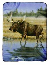 Robert Hautman Wading Moose Raschel Plush 60x80 Twin Size Throw/Blanket