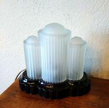 Early Houze Art Deco Glass Sky Scraper Lamp! Satin & Black!