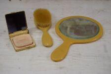 Vintage Yellow Hairbrush & Beveled Mirror Set w/ Coty Powder & Lipstick Compact