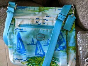Coach Blue Sailboat Nautical beach themed Crossbody bag