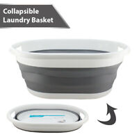 Collapsible Foldable Silicon Laundry Bucket Basket Space Saving Cloth Washing