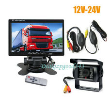 "Wireless 18 IR Car Reverse Backup Camera + 7"" LCD Monitor Rear View Kit 12V-24V"