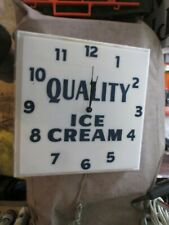 """Vintage QUALITY ICE CREAM Lighted Shop/Store SIGN CLOCK 16"""" x 16""""  Works!"""