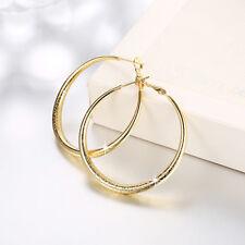 Fashion 18K Yellow Gold Filled 4.1cm Big Circle Hoop Earrings