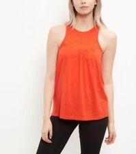 Maglie e camicie da donna arancione in misto cotone con girocollo