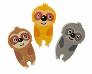 Sloth Shaped Erasers / Rubbers 3pk - Fun Kids School Stationery Party Bag Gift