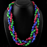 WORLD CLASS EVER 1025.00 CTS EARTH MINED RUBY, EMERALD & SAPPHIRE BEADS NECKLACE