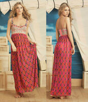 Maaji Maxi Dress Cover Up Bustier Mesh Sheer Sleeveless Small Retro Print Boho