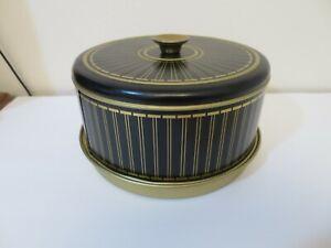 Vintage Mid Century Modern Metal Black & Gold Cake Pie Cover Saver Carrier