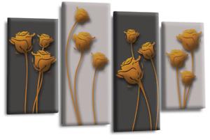 Le Reve Abstract Floral Love Art Orange Grey Black Wall Canvas Split 4 Panels