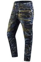New Men Denim Ripped Premium Cargo Acid Wash Jeans Slim Fit Zipper Pocket 32-44