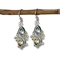 Lady Water Drop Rhinestone Inlay Hollow Flower Dangle Hook Earrings Gift Sanwood