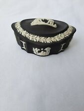 More details for wedgwood  black jasperware oval shaped trinket box excellent condition