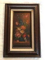 """Vintage Signed & Framed Original Oil on Board Floral in Vase Painting (6"""" X 12"""")"""