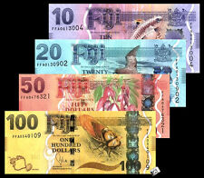 Set of 4 PCS, Fiji 10, 20,50,100 Dollars,ND( 2012),Banknotes, UNC