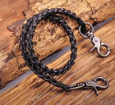 C63 Black Men's Cool Plait Leather Rock Biker Jeans Keychains Key Wallet Chain