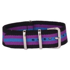 20mm Black Purple Textile Cambo Nato Nylon Watch Strap Wristwatch watchband Belt