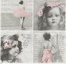 2 Serviettes en papier Vignettes Enfant Danseuse Sagen Vintage - Paper Napkins