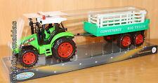 Traktor grün mit Friktionsmotor & Anhänger ca. 32 cm NEU/OVP Schlepper Treker
