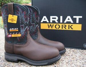 NEW Mens ARIAT Brown Leather WORKHOG H20 Waterproof Comp Toe Work Boots 10031562