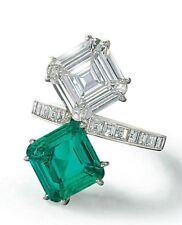 21 TCW Emerald & White CZ in Asscher Cut Stone Studded Unique Wedding Ring Silve