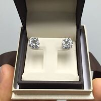 5.00 Ct Stud Earrings Round Brilliant White Yellow Solid 14k Gold Screw or Push
