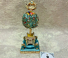 """Faberge Egg Turquoise Laurel tree. (3.15"""") . Made in Russia"""