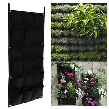 18 Taschen Pflanzenwand Deko Blumenkasten Balkonkasten Wand Pflanztasch 100x50cm