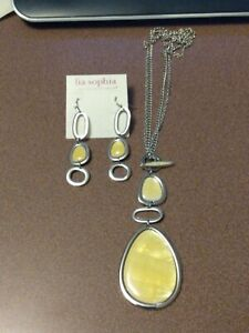 Lia Sophia silver toggle necklace and earrings set with mother of pearl shell